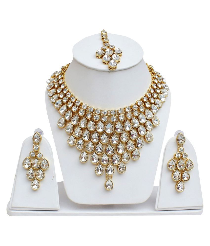 712e8c255 LUCKY JEWELLERY Artificial Stone Work Choker Necklace Set Wirh Earrings And  Maang Tika - Buy LUCKY JEWELLERY Artificial Stone Work Choker Necklace Set  Wirh ...