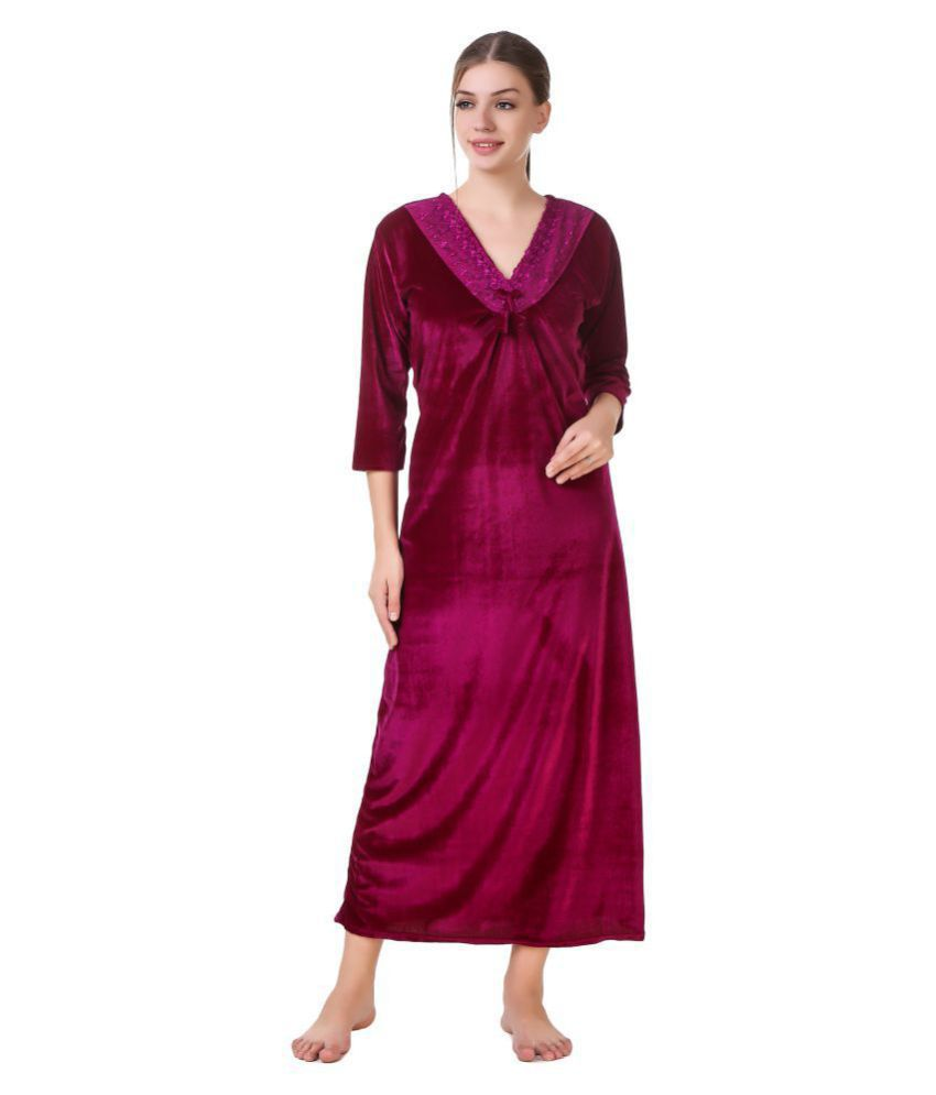 Buy Masha Velvet Nighty   Night Gowns - Pink Online at Best Prices in India  - Snapdeal e25badc22