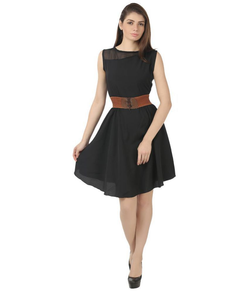 4dbba2156a19 My Swag Crepe Black Fit And Flare Dress - Buy My Swag Crepe Black Fit And Flare  Dress Online at Best Prices in India on Snapdeal