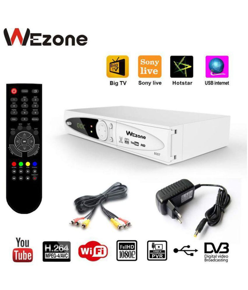 Wezone 8007 DVB-S2 Set Top Box Satellite TV Receiver 1080 HD Support PVR  and Playback via USB, Support Internet from Mobile, SIM GPRS, No Need Dish