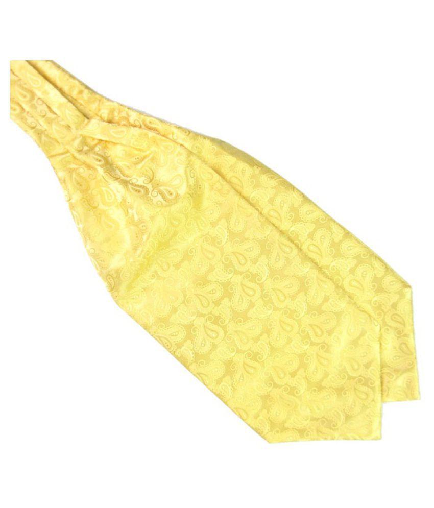 Kamalife Yellow Printed Polyester Necktie