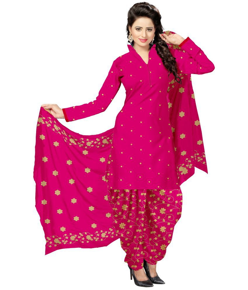 Udaan Pink Satin Dress Material