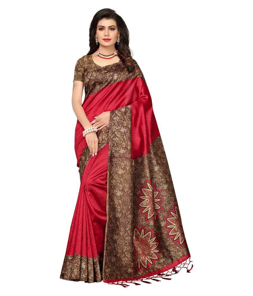 Swaron Red Art Silk Saree