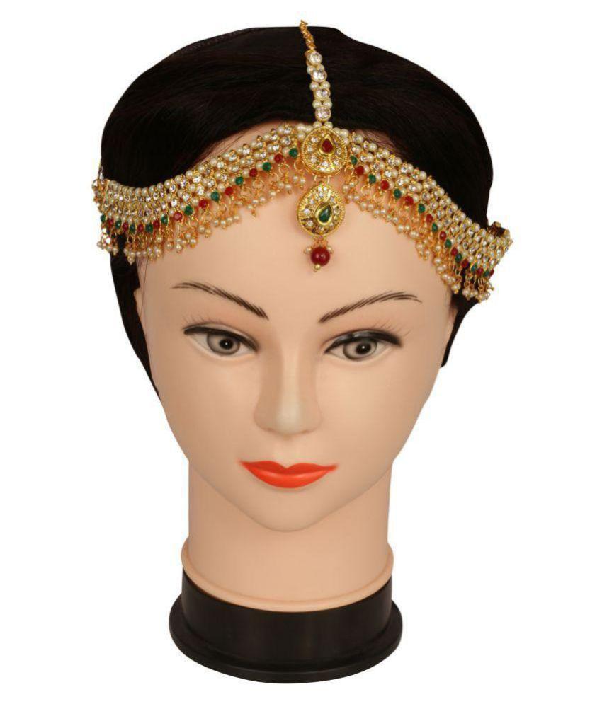 Adoreva Gold Red Green Kundan White Diamond Pearl Traditional Maang Tika Mathapatti Damani for women