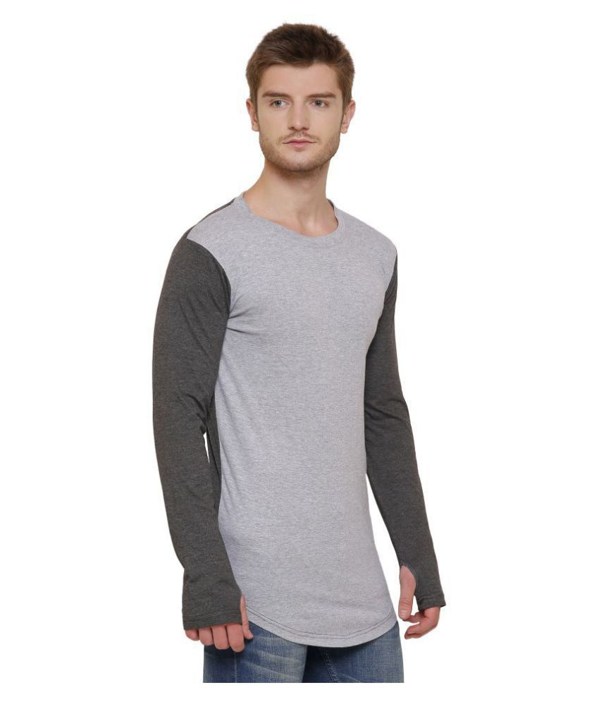 GRAND STITCH Grey Full Sleeve T-Shirt