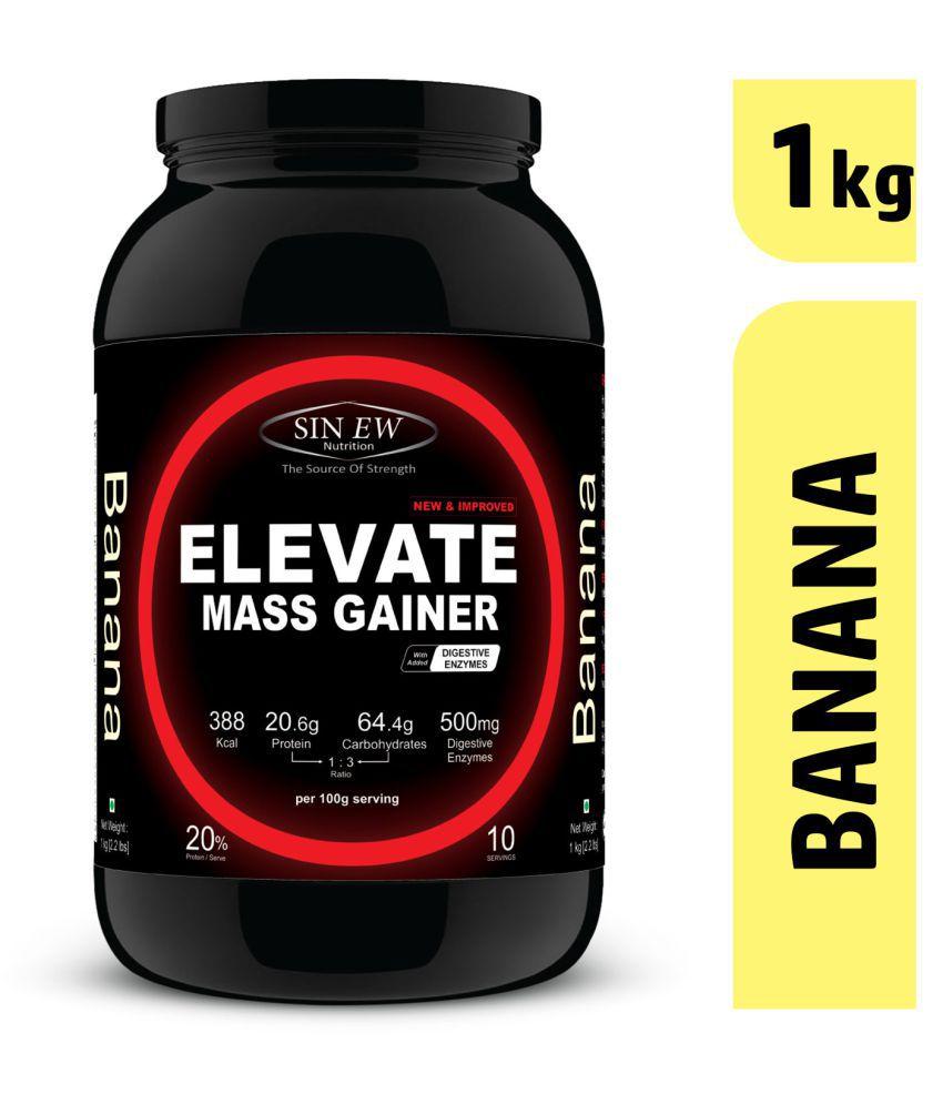 Sinew ElevateMassgainerwith Digestive Enzymes, 1 Kg Banana 1 kg Mass Gainer Powder