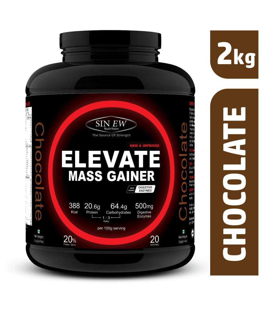 Sinew ElevateMassgainerwith Digestive Enzymes, 2 Kg Chocolate 2 kg Mass Gainer Powder
