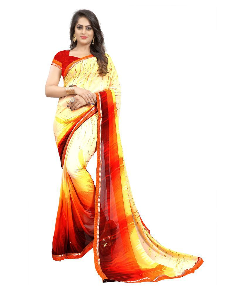 NEMI AGENCY Beige Georgette Saree