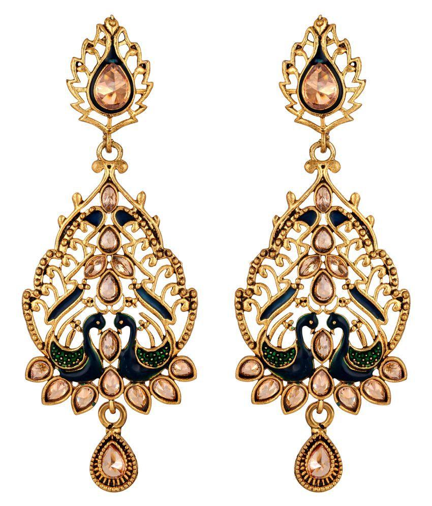 Sukai Jewels Peacock Inspired Diamond Studded Gold Plated Zinc Casting Cz American Diamond Drop Earring for Women & Girls [SER130G]