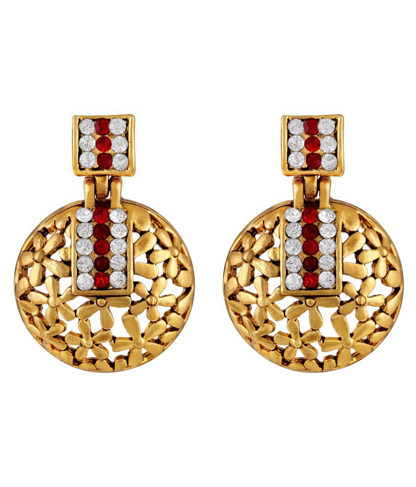 Sukai Jewels Red Stone Dome Shape Multi Floral Gold Plated Zinc Casting Cz American Diamond Drop Earring for Women & Girls [SER132G]