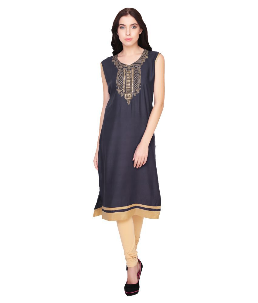 Inara Robes Navy Rayon Straight Kurti