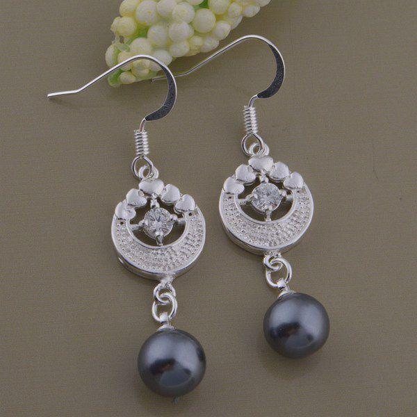 Kamalife Fashion Black Pearls Bling Bling Diamond 1 Pair Earings Jewellery