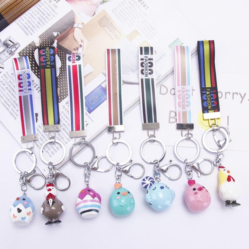 Ribbon Metal Key Chain Cartoon Animal Pendant Keychain Car Handbag Charm Gifts