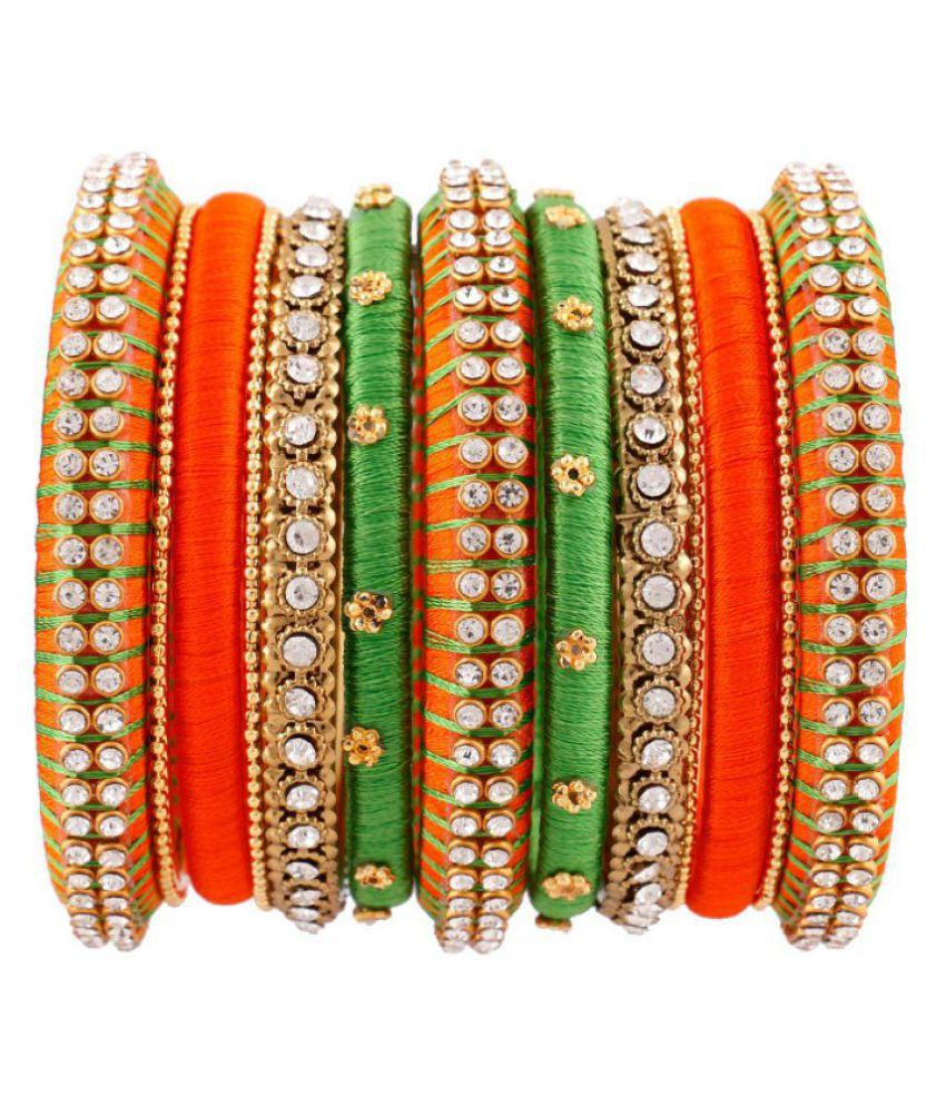 Silk thread fancy bangles 2.6 size for women & girls