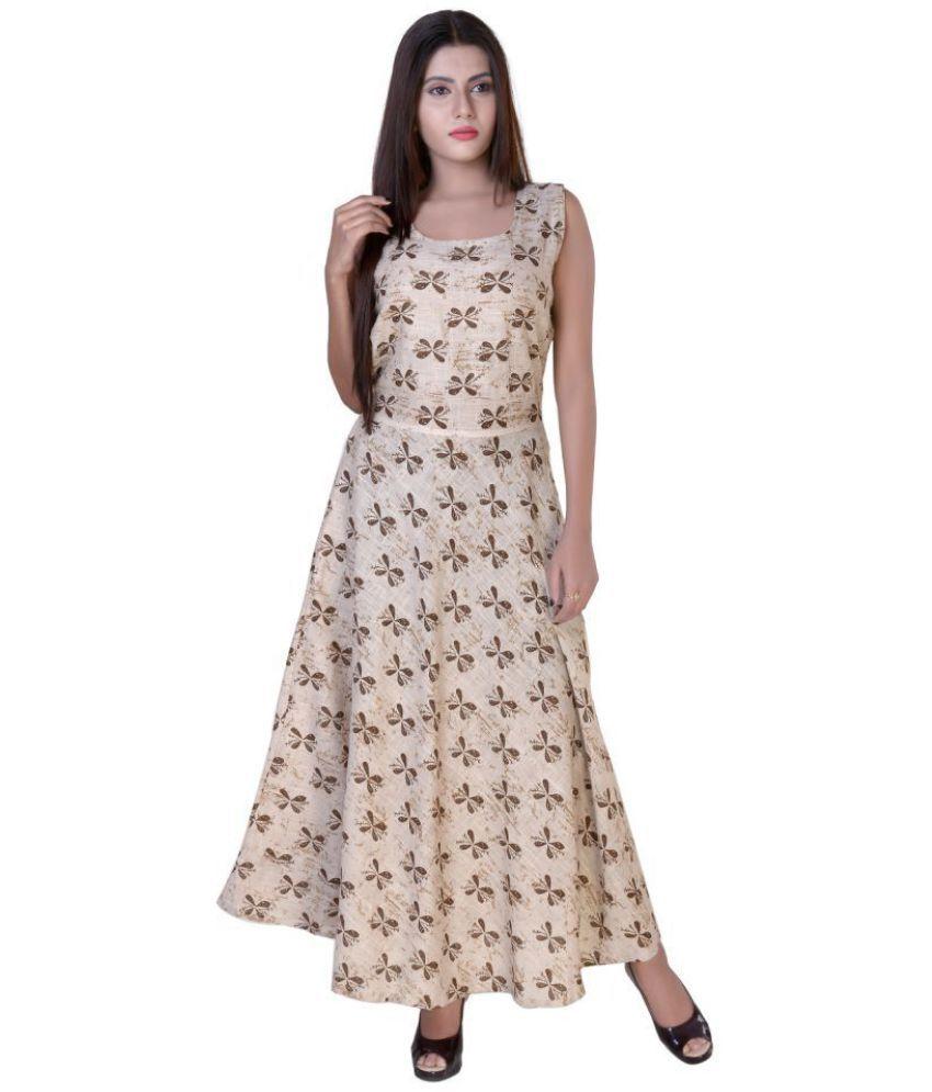 fabcolors Cotton Brown Regular Dress