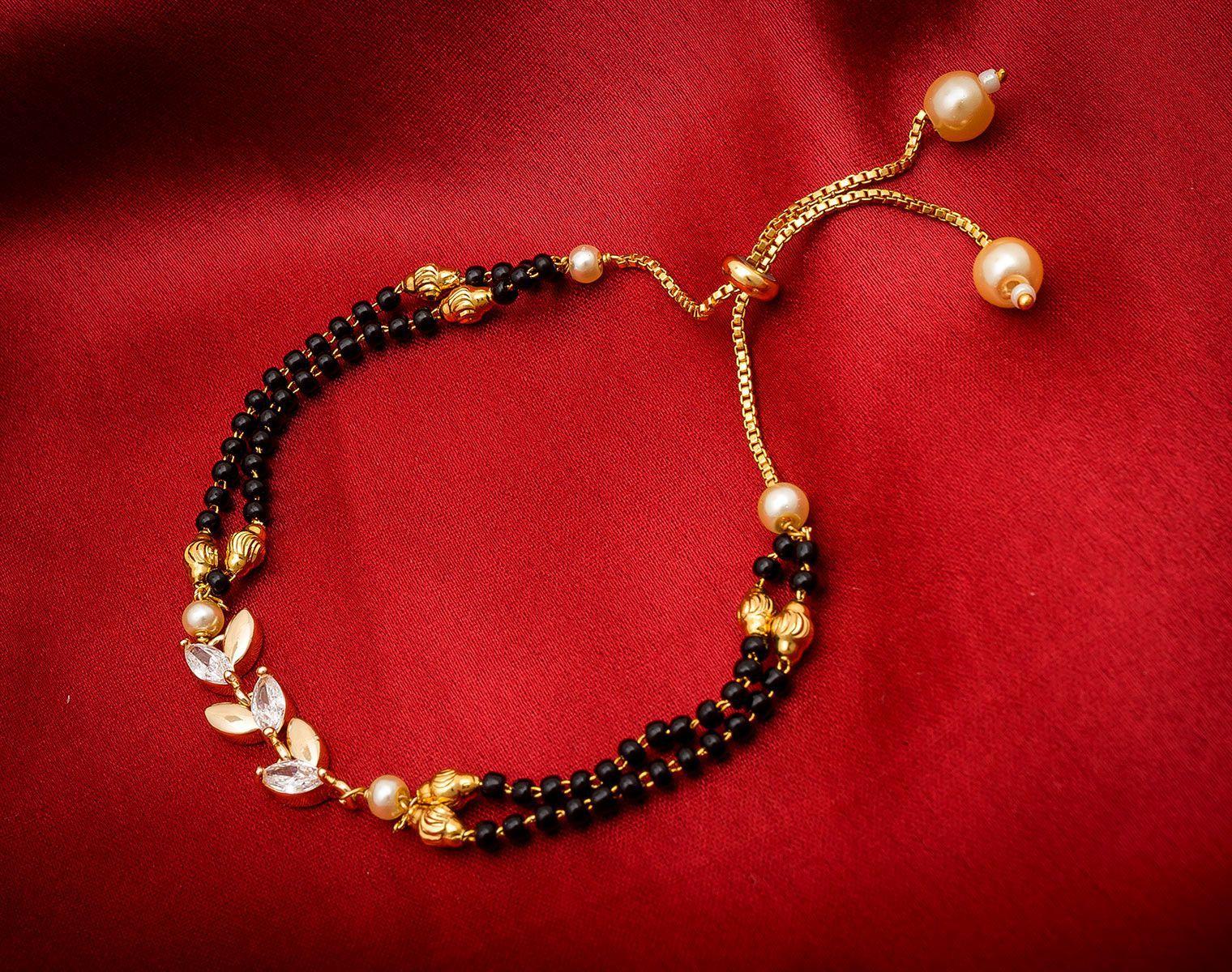 Aadita Ethnic Traditional Designer Mangalsutra Type Charm Bracelet for Women Rose Gold