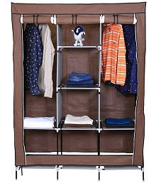 Non-woven Fabric Collapsible Wardrobe Clothes Storage Rack Cupboard Closet with 6 Cabinet and 2 long Shelves Organizer -