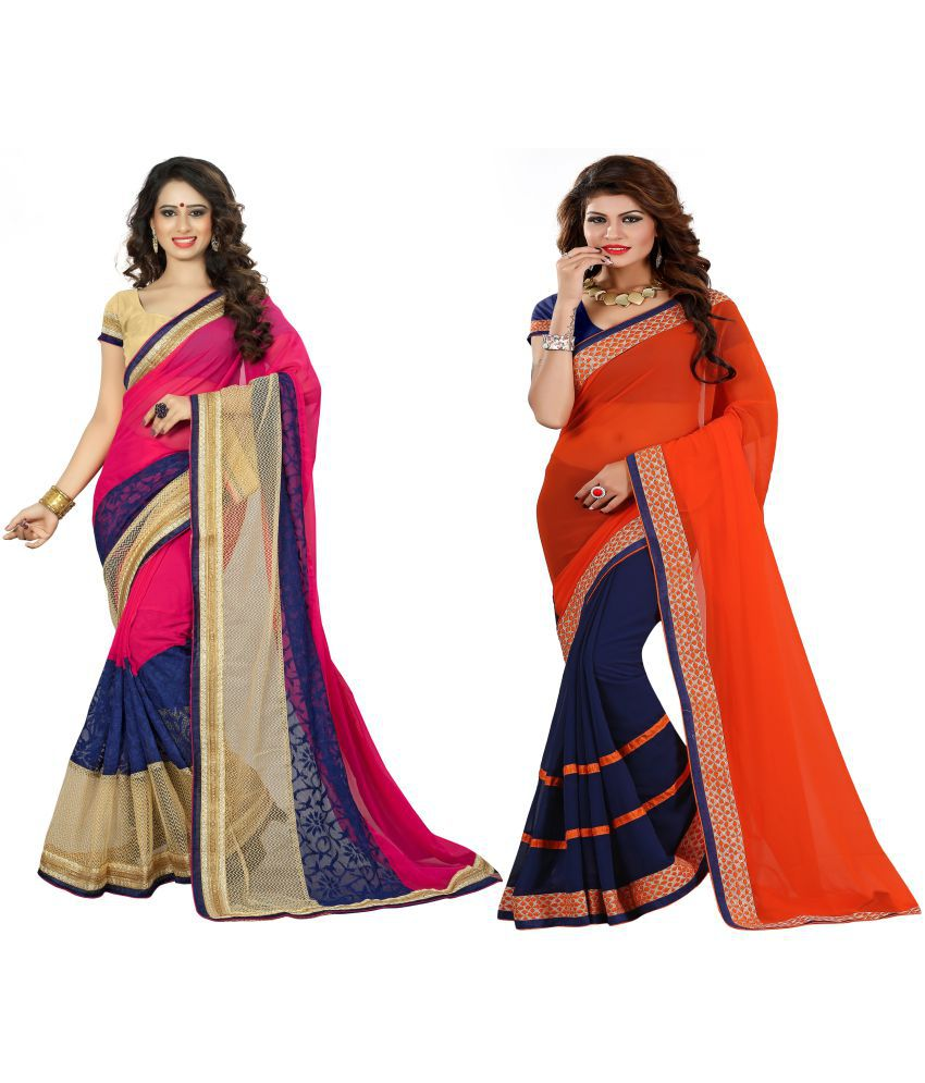 Aai Shree Khodiyar Multicoloured Georgette Saree Combos