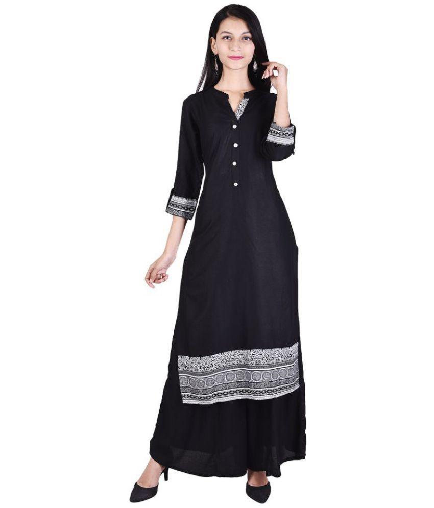 VOJO Black Cotton Straight Stitched Suit