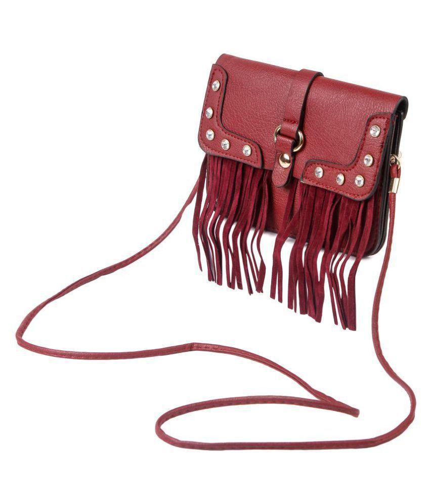 Chhavis Maroon Pure Leather Crossbody