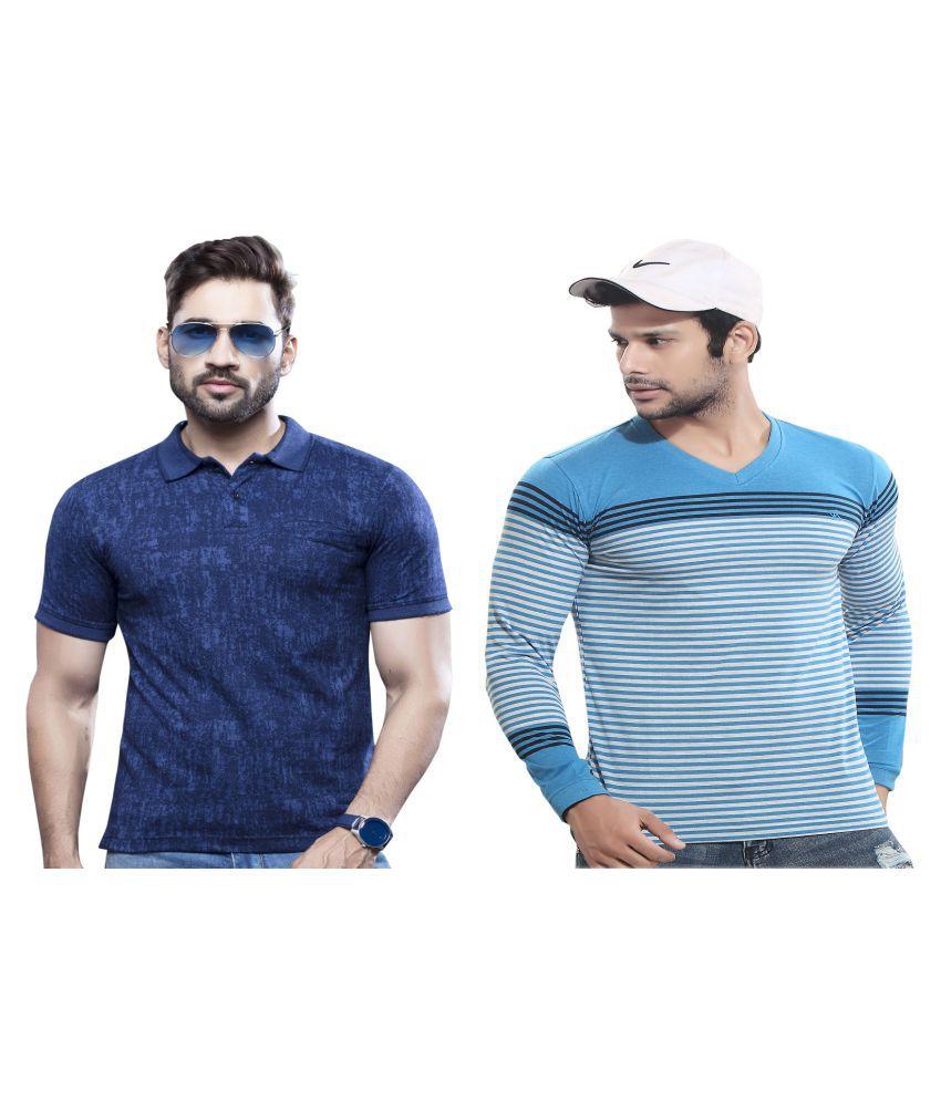 KUNDAN SULZ GWALIOR Blue Full Sleeve T-Shirt Pack of 2