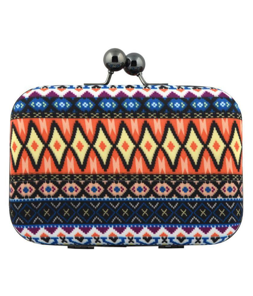 Corel street Multi Fabric Box Clutch