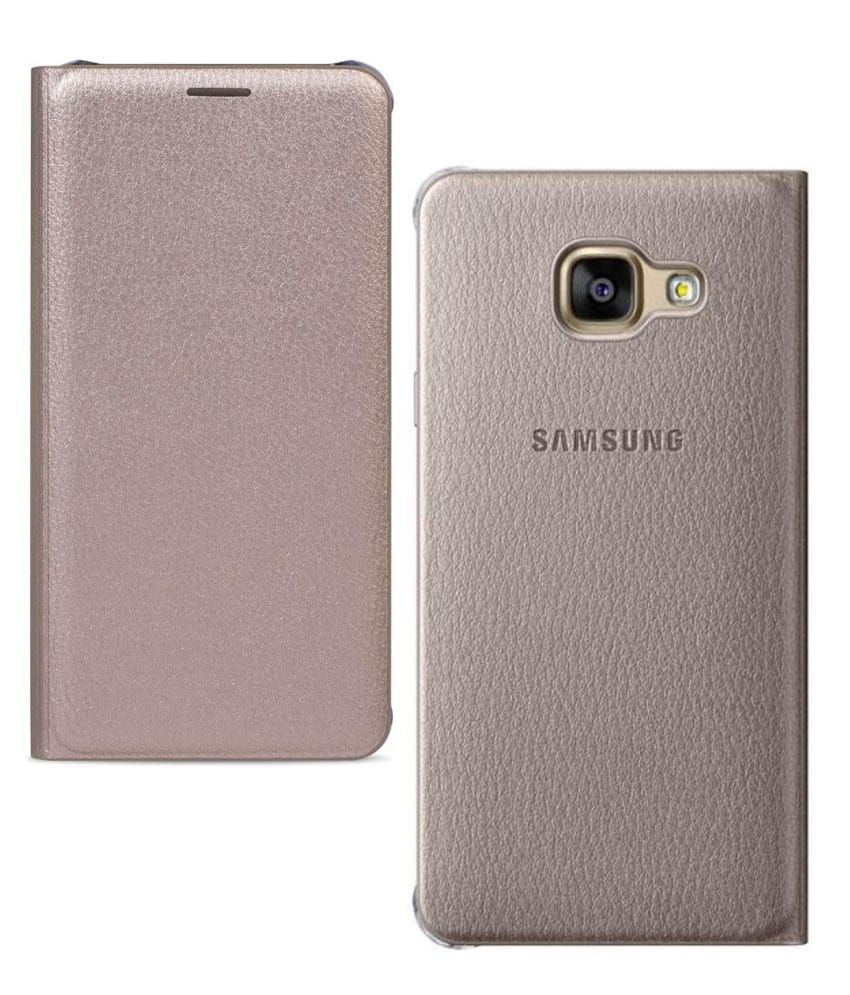 new style 195ec c1f52 Galaxy A7 2016 Flip Cover (Golden)
