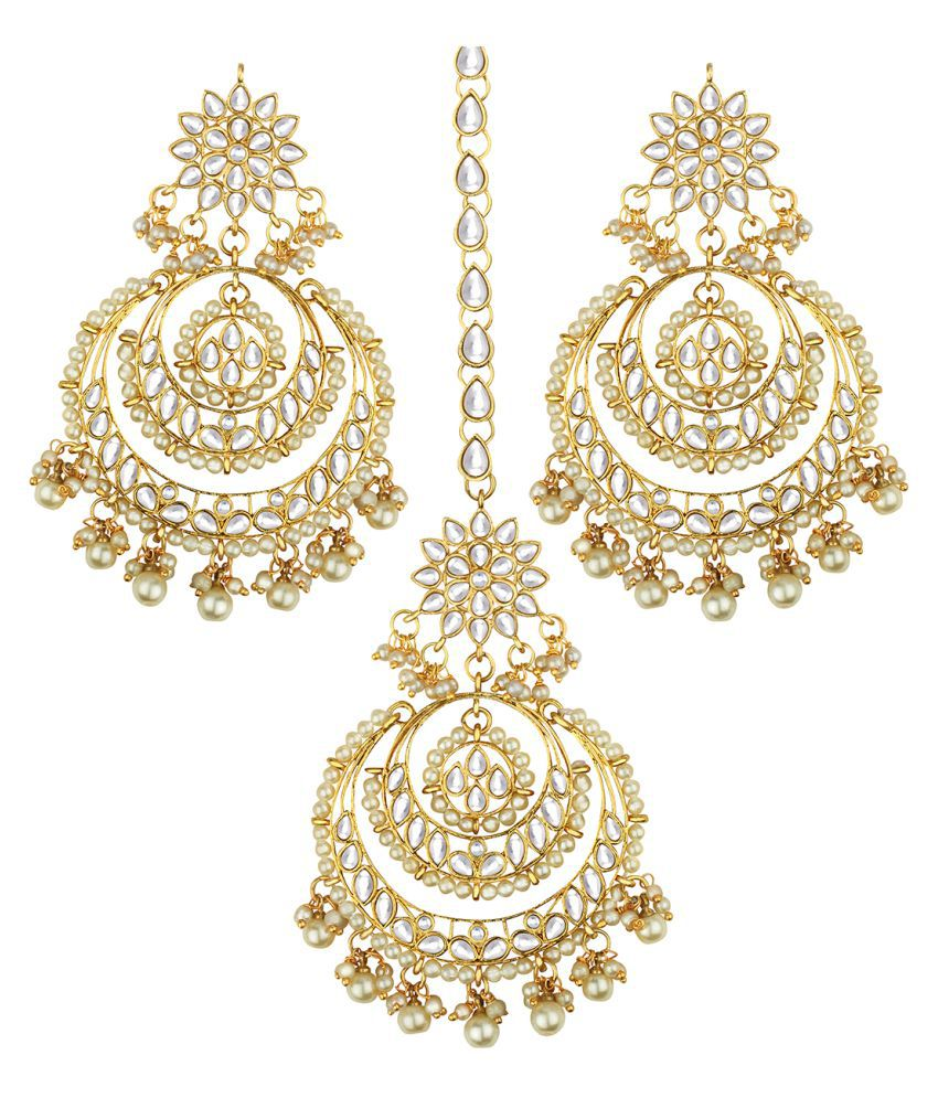 Spargz Designer Gold Plated Kundan Pearl Chandbali Earring With