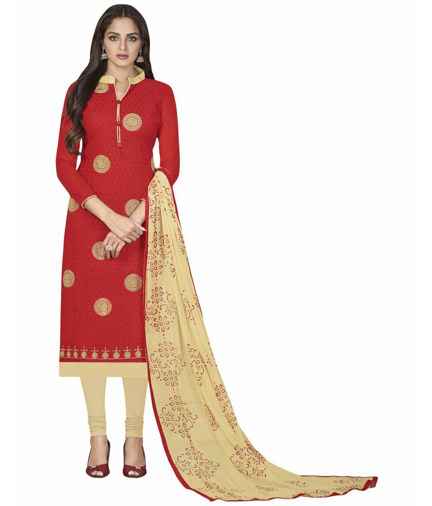 Maroosh Red and Beige Cotton Straight Semi-Stitched Suit