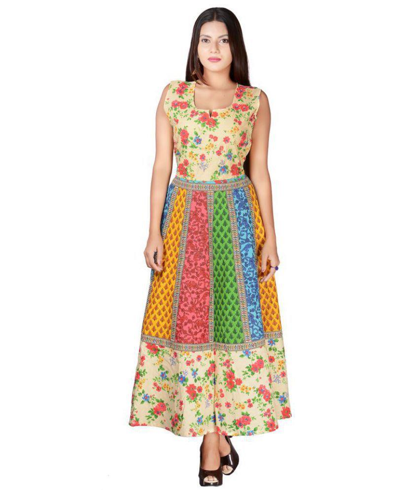 fabcolors Cotton Multi Color A- line Dress