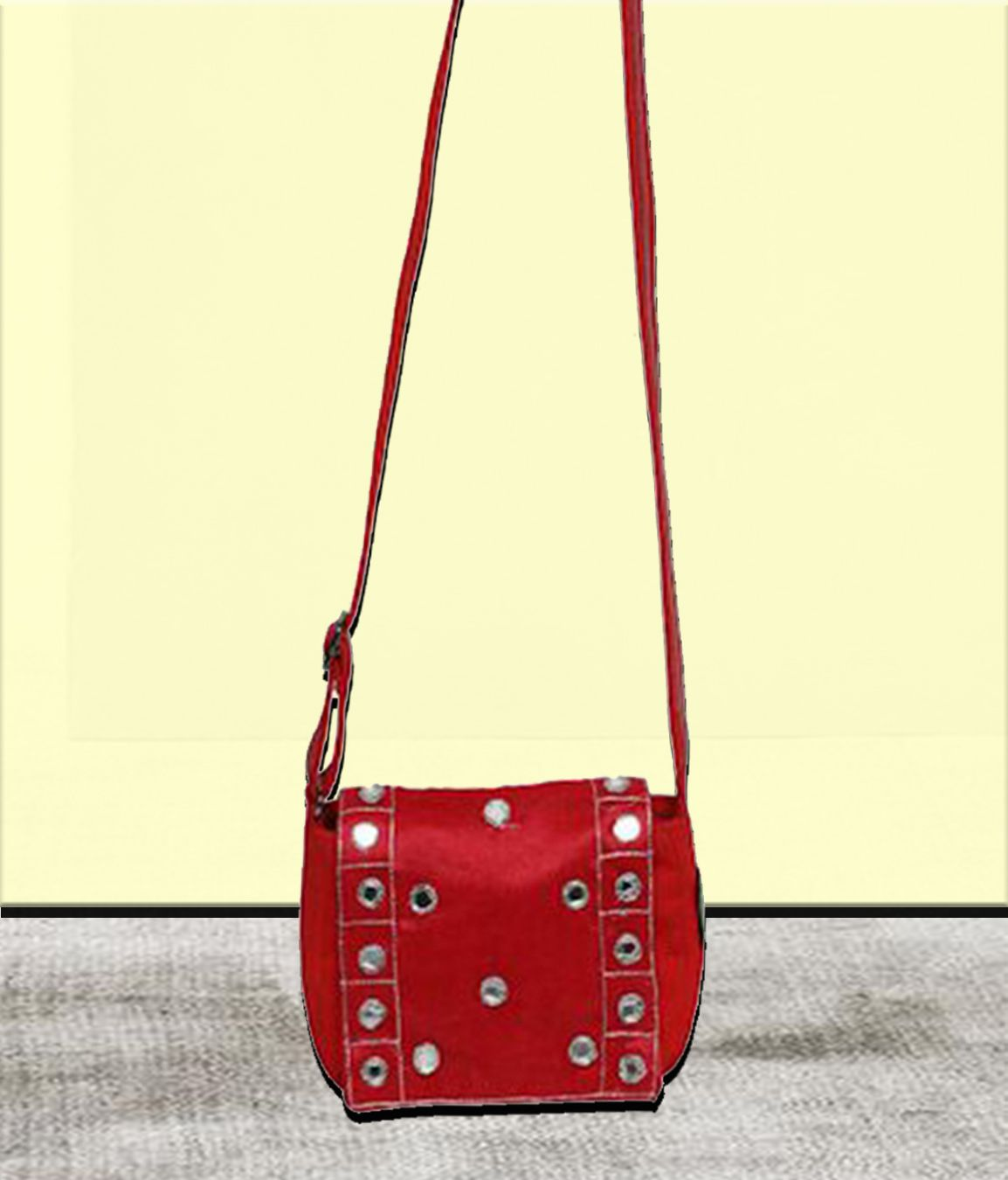 Anekaant Sparkling Red Canvas P.u. Sling Bag