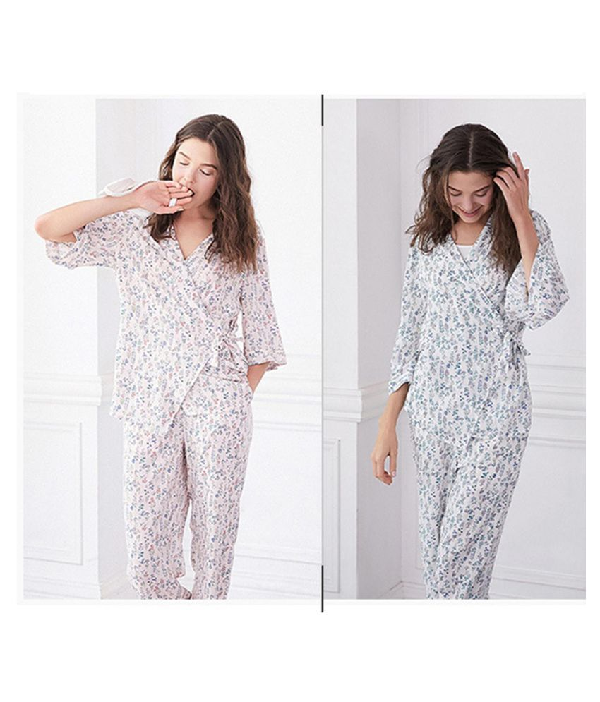 0ccb224b8f ... Women Nightgown Set Three-Quarter Sleeve Floral Shirt Pants Vintage  Nightdress ...