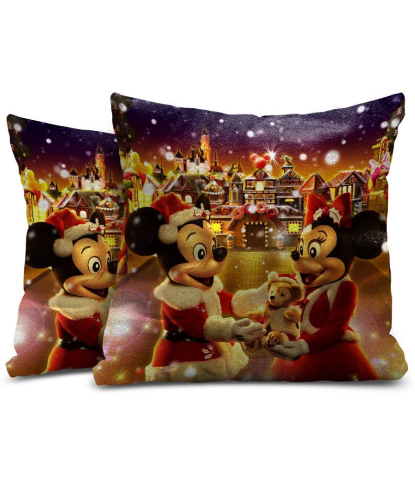 Mukesh Handicrafts Set of 2 Velvet Cushion Covers 30X30 cm (12X12)