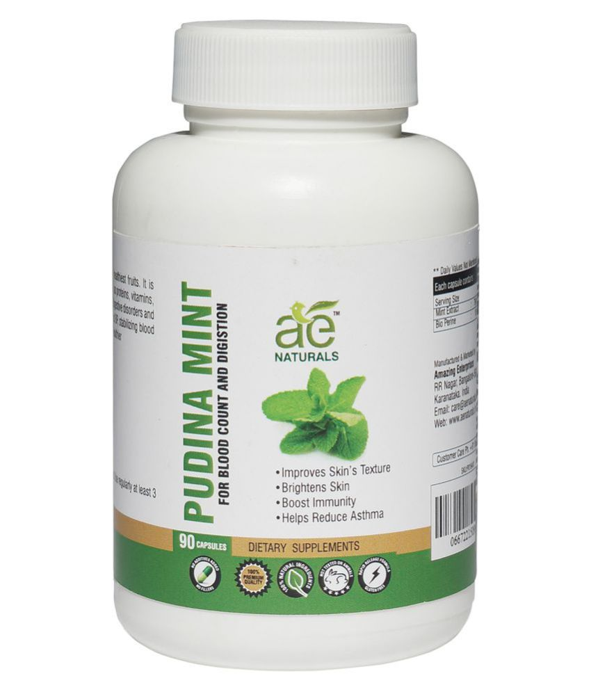 AE Naturals Pudina Mint For Blood Count & Digestion 90 Caps 1 no.s