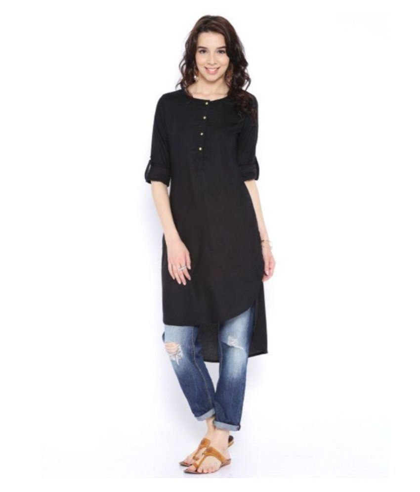 Plus Creations Black Rayon High Low Hemline Kurti