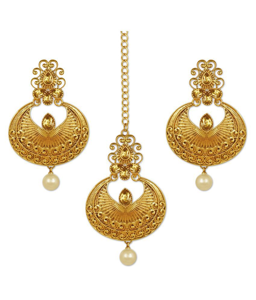 Spargz Traditional Swirly Design Gold Plated Synthetic Stone Chandbali Earring With Maangtikka For Women