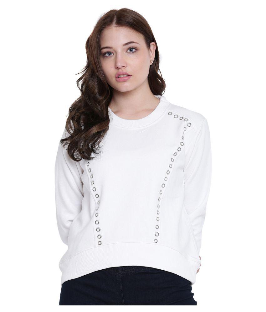 Texco Cotton Fleece Off White Non Hooded Sweatshirt