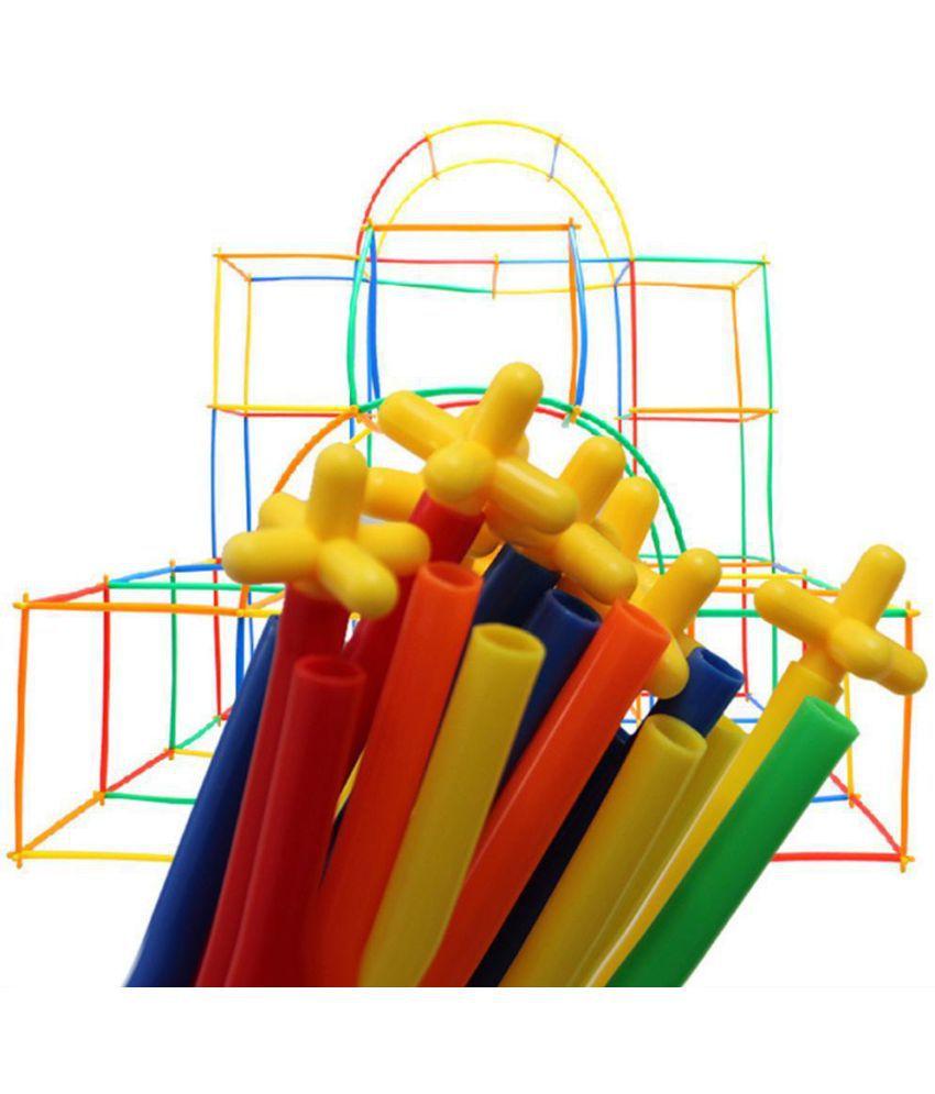 300//500 Plastic Kids Children 4D Straw Building Blocks Joint Construction Toy