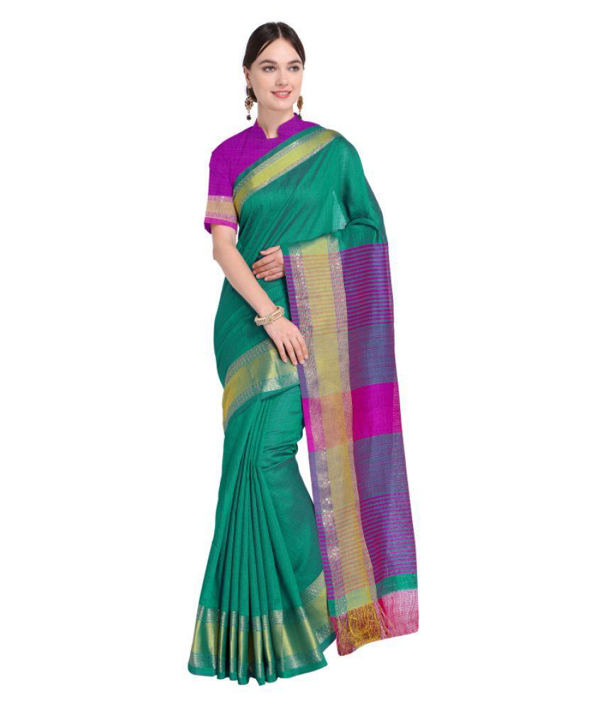 Aagaman Fashions Green and Purple Cotton Saree