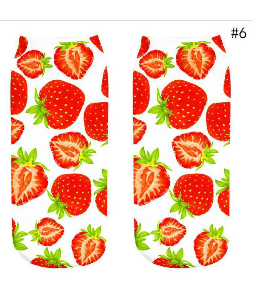1 Pair Fashion Fruit Socks Cotton 3D Printed Fruit Low Cut Ankle Socks