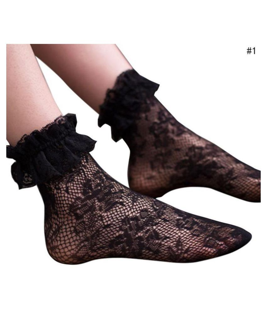 1 Pair Fashion Retro Women Lace Ruffle Frilly Ankle Lace Socks Ruffle Frilly Princess Short Sock