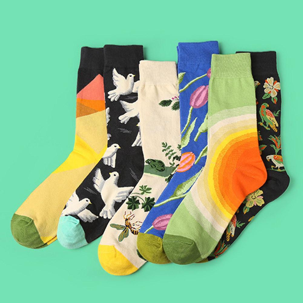 1 Pair Colour Men Women Crew Cotton Happy Socks British Style Casual Harajuku Designer Brand Fashion Novelty Art