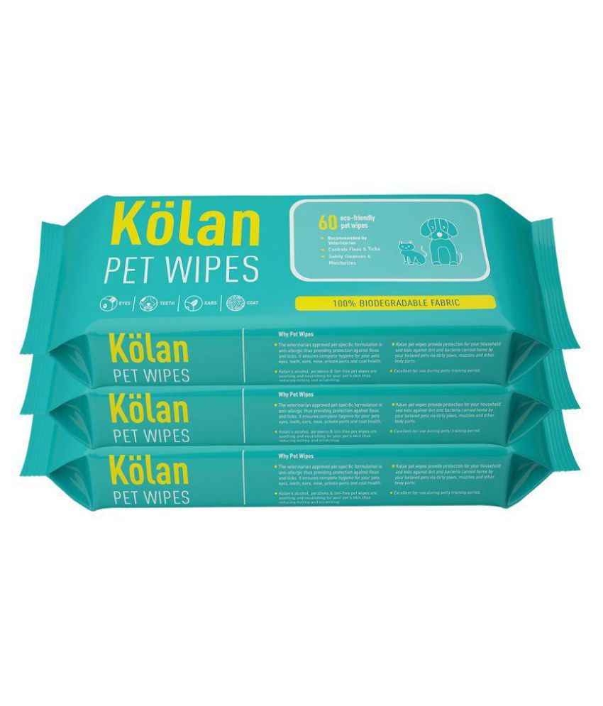 Kolan Eco- Friendly & Multipurpose Pet Wipes for Cleaning Paws, Face, Eyes, Ears, Teeth  and Coat for Dog/Puppy / Cat/Kitten (60 Pcs/Pack)-Combo Pack of 3