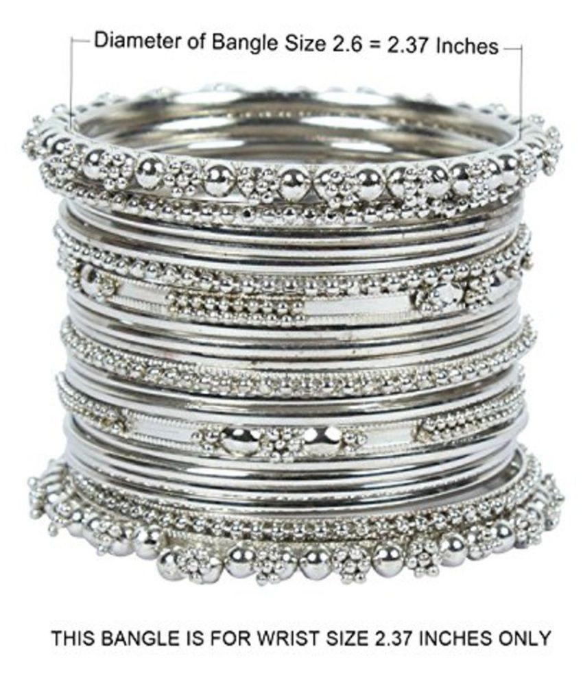 Sapna Fx Oxidised Silver Bangles Set 20 Pcs Size 2 6 Wrist Size