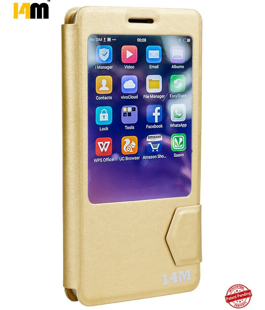 Coolpad Max A8 Flip Cover by 14M - Golden