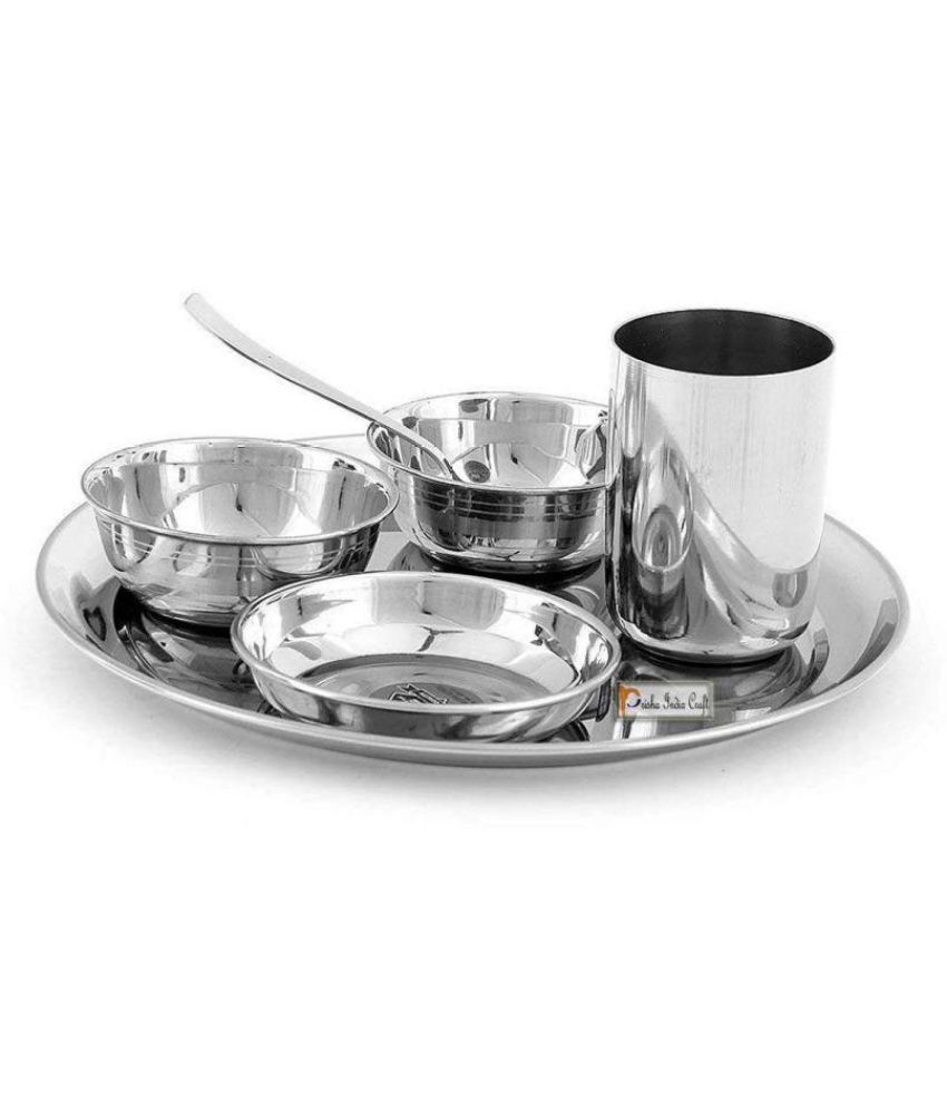Prisha India Craft Stainless Steel Dinner Set of 6 Pieces