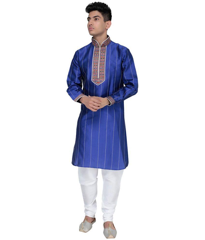SG LEEMAN Blue Silk Kurta Pyjama Set Pack of 2