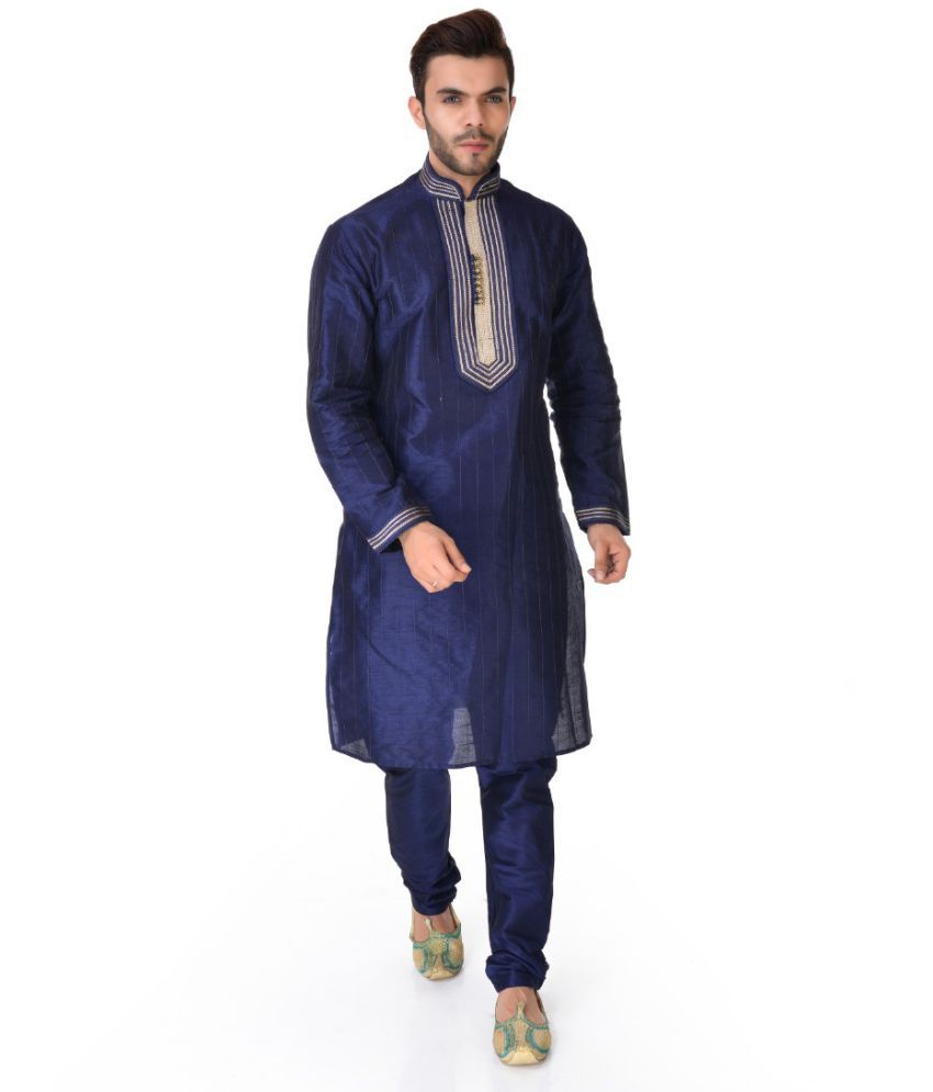 SG LEEMAN Blue Silk Kurta Pyjama Set Pack of 2