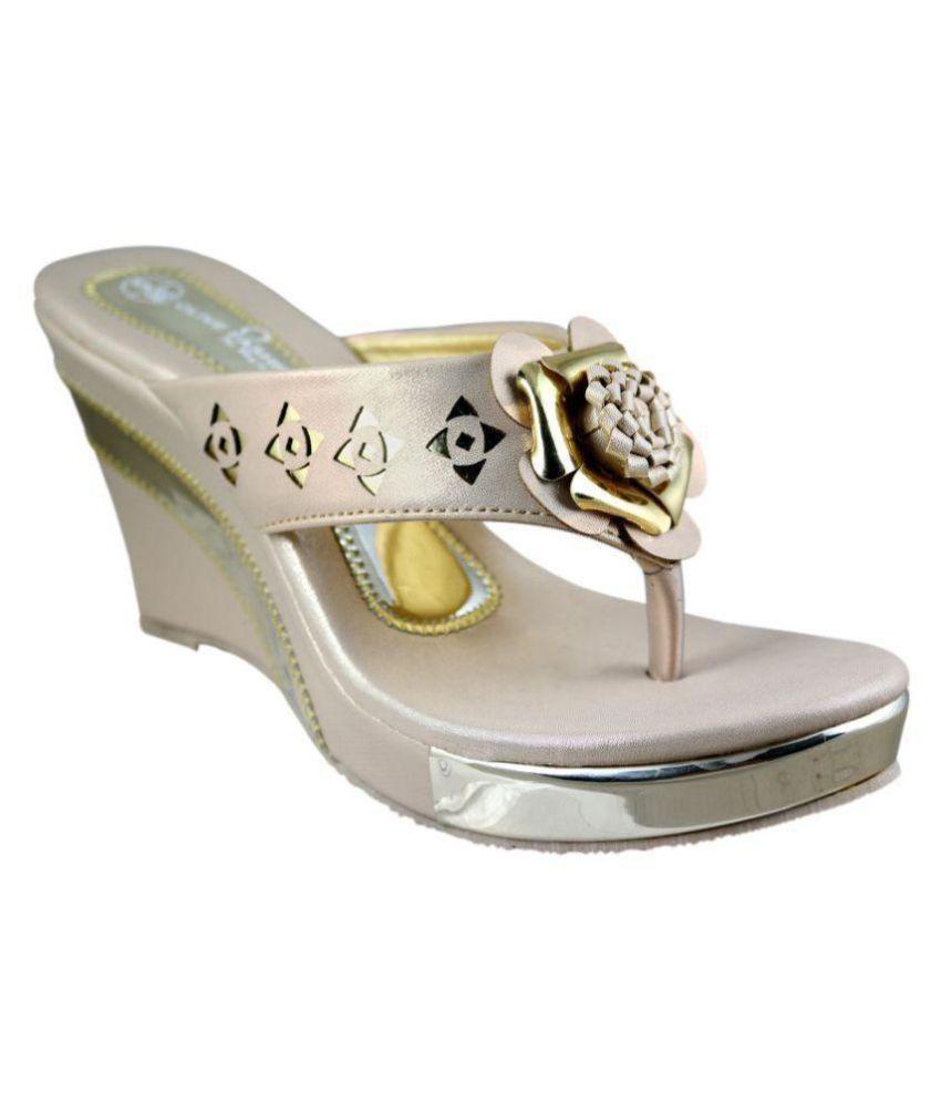 Olive Fashion Gold Wedges Heels