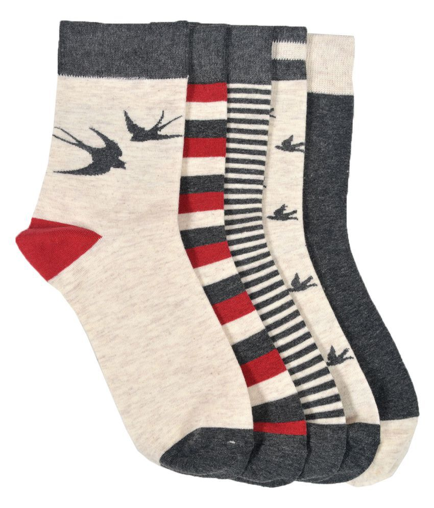 VINENZIA 5 pair cotton unisex ankle length socks